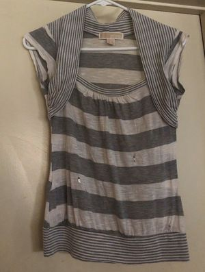 MICHAEL Michael Kors White and Grey Stripe Shirt with some Sequins for Sale in Palos Verdes Estates, CA