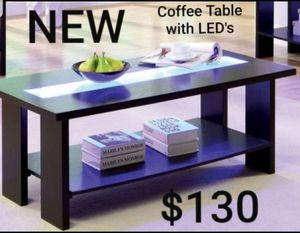 Black Finish Wood Coffee Table With LED's for Sale in Los Angeles, CA
