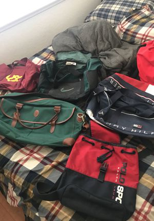 Vintage duffle bags luggage backpack Nike polo sport Ralph Lauren Tommy Hilfiger usc for Sale in Mission Viejo, CA