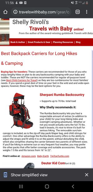 Hiking Backpack Carrier for Sale in Kent, WA