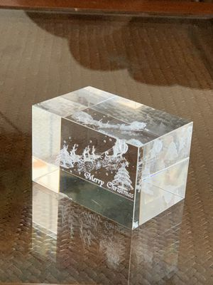 """Vintage merry Christmas glass paperweight- over 1 pound in weight- measures 2"""" x 3.5"""" x 2"""" for Sale in Hobe Sound, FL"""