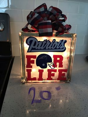Patriots Glass Block Night Light **last one**** on sale for Sale in Winter Haven, FL