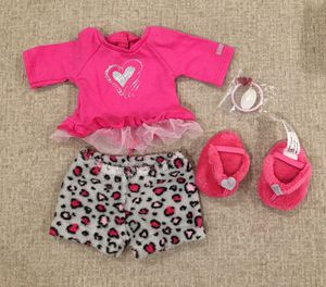 American Girl Doll Heart Pajamas, Slippers , & Hair Tie for Sale in Moapa, NV