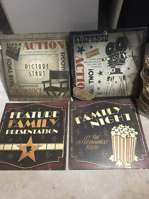 4 Movie ~ Theater Room Decor ~ Movie Night ~ Family Room Decor for Sale in Houston, TX