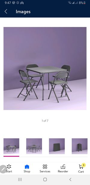 Card Folding Table and 4 Chairs Dining Black Card Game Party Indoor Portable for Sale in Redlands, CA