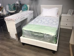 Brand new twin bedroom set bed frame student desk and 1 nightstand no mattress for Sale in Miami, FL