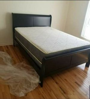 Brand new in box queen bed frame includes mattress and box spring for Sale in Chicago, IL