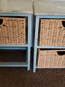 Set Of Wooden Storage With Wicker Baskets H20×W16×L10in for Sale in Fresno,  CA