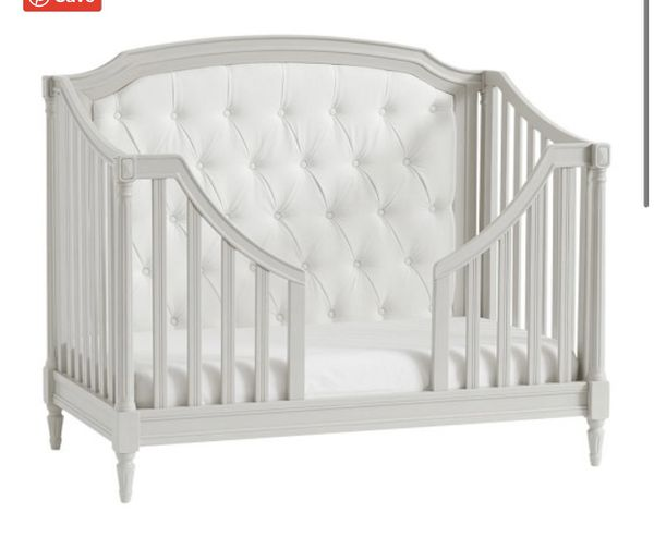 Pottery Barn Grey Blythe Convertible Crib with Mattress and 3-In-1 Toddler Bed Conversion Kit