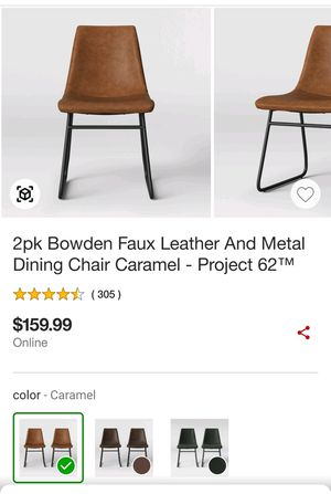 2pk Bowden Faux Leather and Metal Dining Chair for Sale in Rolla, MO