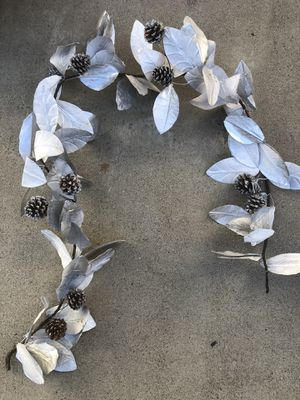 Pottery barn silver glitter and pine cone Xmas Christmas garland for Sale in Ontario, CA