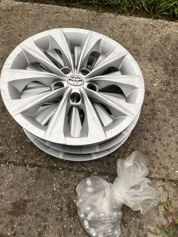 Toyota regular rims size 16 inches and toyota. wheel nuts and wheels cover