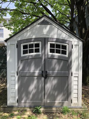 1250$ Suncast 7' x 7' Cascade Storage Shed - Outdoor Storage for Backyard Tools and Accessories - All-Weather Resin Material, Transom Windows and Sh for Sale in Queens, NY
