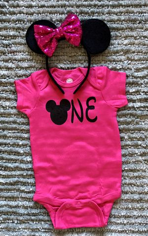 Minnie Mouse 🐭 Pink 1st Birthday Shirt & Sequin Headband Ears 12 Months for Sale in Long Beach, CA