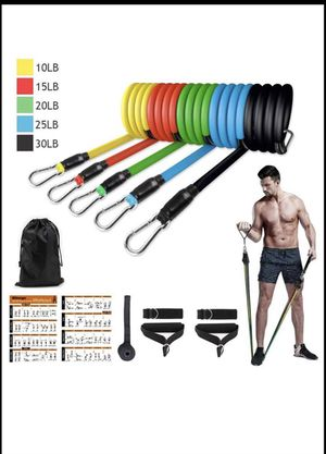 Resistance Bands Set Portable Exercise Bands Indoor Sports Equipment with 5 Fitness Tubes, 2 Foam Handles, 2 Ankle Straps, Door Anchor, Carrying Bag for Sale in Tempe, AZ