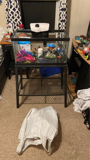 20 gallon fish tank with stand and extras for Sale in Central Falls, RI