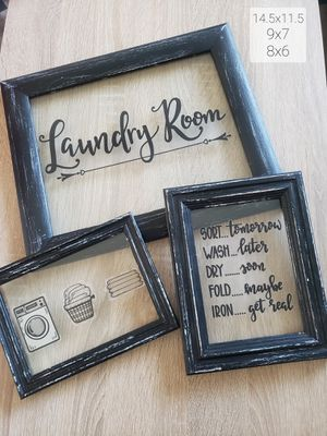 Glass Framed Laundry Room Wall Decor for Sale in Bakersfield, CA