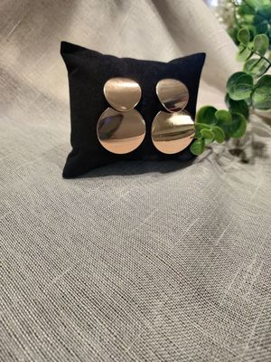 Vintage metal Round Hollow Earrings Geometric Double Layers Earrings, Gold Color for Sale in Tustin, CA