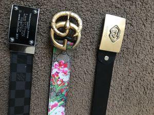 3 Designer Belts ( 2 Gucci & Louis Vuitton ) Size 34 for Sale in Washington, DC