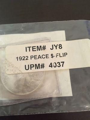 1922 peace dollar flip for Sale in Long Beach, CA