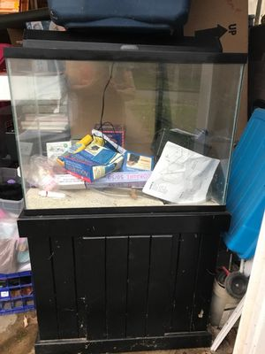 50 gallon FISH TANK black real wood cabinet stand for Sale in Lexington, KY