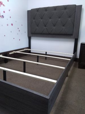 New Dark Grey Queen bed frame for Sale in Las Vegas, NV