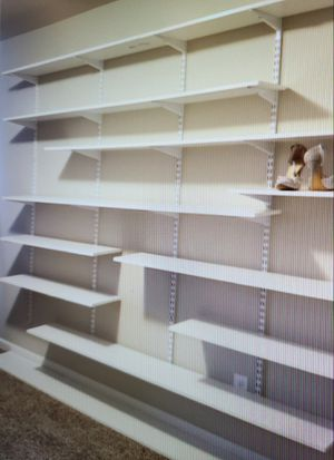 Like new! White Rubbermaid shelving, brackets & adjustable wall mount bookcase, closet poles & cabinet! for Sale in Bonney Lake, WA