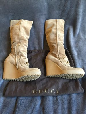 Gucci suede wedge knee high boots for Sale in Las Vegas, NV