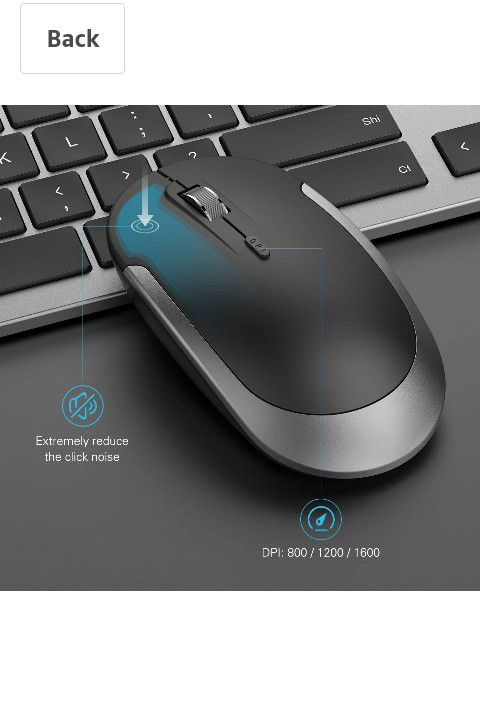 Wireless keyboard and mouse, USB rechargeable.