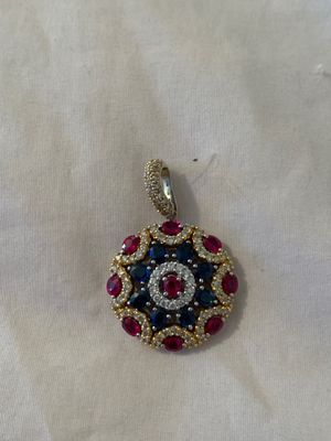 Two tone 18k diamond pendant with real Ruby's emeralds and diamonds for Sale in Cheshire, CT