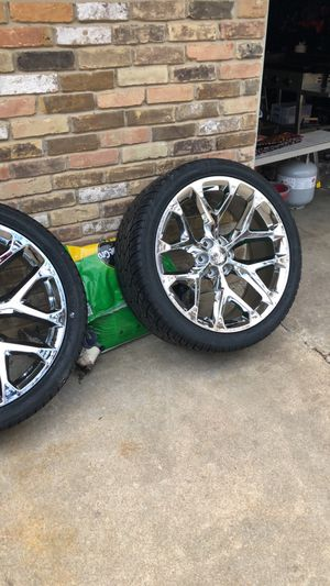 24 inch snowflake rims and tires. BRAND NEW for Sale in Dallas, TX