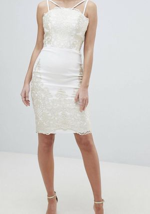 Chi Chi London Lace Detail Pencil Midi Prom Dress with V Back for Sale in Wood Dale, IL