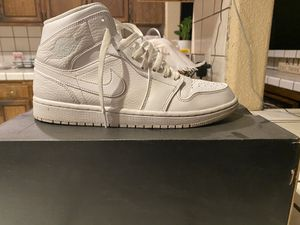 Air Jordan 1 mid all white , size 9'5 in men's , condition 7/10, a few creases , need them gone for Sale in Union City, CA
