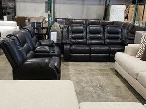 New Ashley furniture black color 2pc reclining sofa and loveseat set tax included for Sale in Hayward, CA