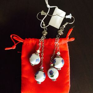 Floral Porcelain beads & Crystals earring/ Classy long for Sale in Annandale, VA