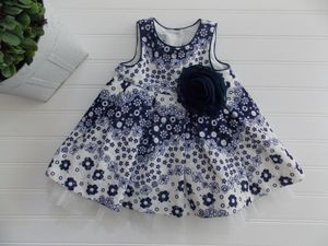 Pippa & Julie Baby Girls 6M Blue White Floral Full Tulle Skirt Dress for Sale in Tacoma, WA