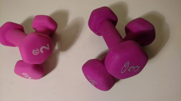 2-Pink 2lb & 2 Purple 3lb. Rubberized grip dumbbell set