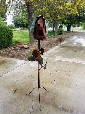 Metal standing birdhouse. Fell and needs to be bent back flat. for Sale in Clovis, CA