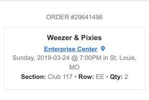 Weezer & Pixies tickets for sale for Sale in Lake Saint Louis, MO