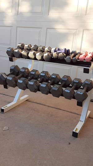 Dumbbells and rack for Sale in Saginaw, TX