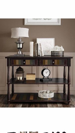 Console Table with Colorful Drawers, 3-Tier Entryway Table with Shelves, for Living Room, Dining Room, Hallway, Assembly Without Tools, Turned Wood L for Sale in Corona, CA