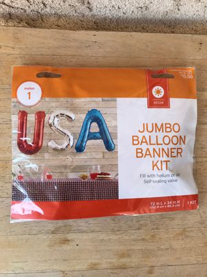 HAPPY 4TH OF JULY JUMBO BALLOON BANNER KIT USA for Sale in Rialto, CA