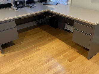 Metal L-Shape Office Desk with Filing Cabinet for Sale in Boston,  MA