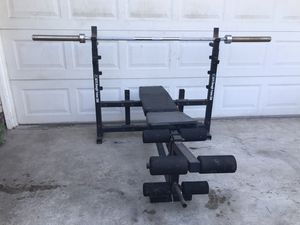 Bench Press with 45lb Olympic Weight Bar for Sale in Fountain Valley, CA