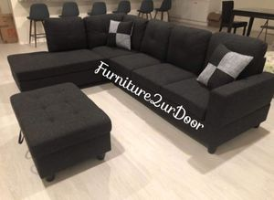 New charcoal linen sofa Sectional with storage ottoman for Sale in Ontario, CA