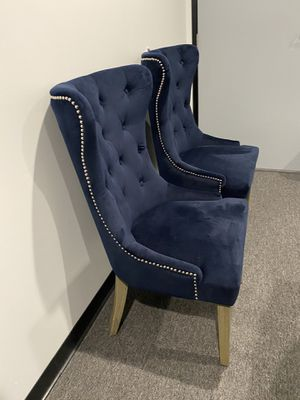 NEW - Two Blue Velvet Dining Room Chairs for Sale in Lake Forest, CA