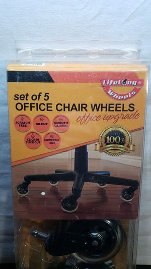 Lifelong Wheels set of 5 office chair upgrade Wheels for Sale in Peoria, IL