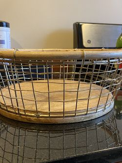 Gold Wire & Wood Basket for Sale in Seattle,  WA