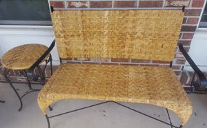 Iron and rattaan bench and side table for Sale in Daniels, MD