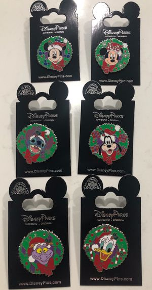 6 pin Disney Character Holiday Christmas Wreath Pin Set for Sale in Orlando, FL